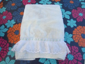 old towel with lace